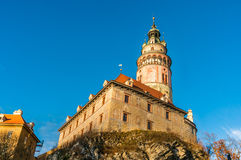 Beautiful view to tower and castle of Cesky Krumlov Stock Photography