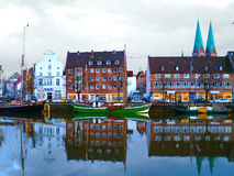 Beautiful view to the TRAVE in Luebeck with reflections in the h Royalty Free Stock Photography