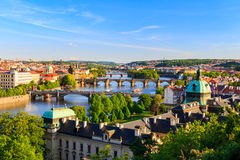 Beautiful view to Vltava and bridges in Prague, Czech republic Stock Photos