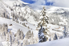 Beautiful view to winter Swiss Alps, Berner Oberland, Adelboden Stock Photo