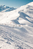 Beautiful view to winter Swiss Alps and ski-lifts Royalty Free Stock Image