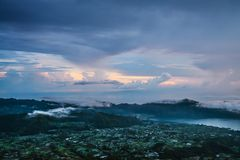 Beautiful view  from the top of Batur. Volcano at sunrise, Bali, Indonesia Stock Photo