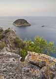 Beautiful View from the top a Cliff. Wonderful view of the Mediterranean coast from the top of a cliff Royalty Free Stock Photography