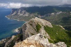 Beautiful view from the top of the mountain on the southern coast of Crimea stock photos