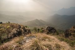 View from the top of view point at Phu Chi Fa in Chiang Rai, Tha. Beautiful view from the top of view point at Phu Chi Fa in Chiang Rai, Thailand Royalty Free Stock Photos
