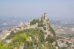 A beautiful view of the tower of Guaita on Mount Monte Titano in the Republic of San Marino stock photos