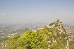 A beautiful view of the tower of Guaita on Mount Monte Titano in the Republic of San Marino stock image