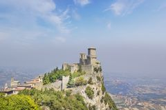 A beautiful view of the tower of Guaita on Mount Monte Titano in the Republic of San Marino royalty free stock photos
