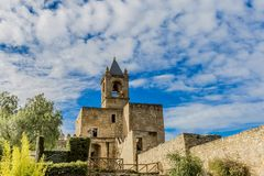 View of a tower and its garden of castle the alcazaba of Antequera Spain royalty free stock image