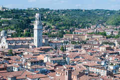 Beautiful view from the tower lamberti of Verona in the backgrou Stock Images