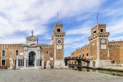 Beautiful view of the towers in the Castello district of Venice, Italy royalty free stock photos