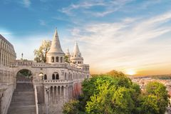 Beautiful view of the towers of the Fishermen`s Bastion in Budapest, Hungary Royalty Free Stock Photo