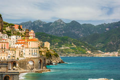 Beautiful view of the town of Atrani, italy royalty free stock photography