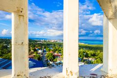 Beautiful view of the town through some pillars in San Andres Island Colombia and Caribbean Sea South America.  Stock Image