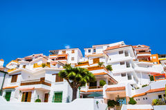 Beautiful view of the traditional architecture of Los Cristianos, Costa Adeje and Las Americas, Tenerife, Canary Islands, Spain.  royalty free stock photography
