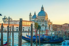 Beautiful view of traditional Gondolas on Canal Grande with hist stock photography