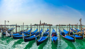 Beautiful view of traditional Gondolas on Canal Grande with San Giorgio Maggiore church at morning, Venice, Italy Stock Photos