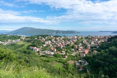 Beautiful view of the traditional houses in the mountainous terrain in Montenegro. Beautiful view of the traditional houses in the mountainous terrain in royalty free stock image