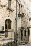 Beautiful view of the traditional old street in Montenegro stock photography