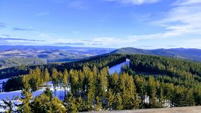 View from the Trail Trees Lipno Lookout, Czechia. Beautiful view from the Trail Trees Lipno Lookout Tower, South Bohemia, Czech Republic Stock Photos