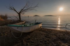 Beautiful view of Trasimeno lake shore Umbria at sunset, with some little boats, skeletal tree and sun coming down. Beautiful view of Trasimeno lake Umbria at royalty free stock photo