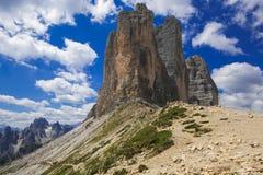 Beautiful view of Tre Cime di Lavaredo or Trei Zinnen in Trentino Alto-Adige, Italy. Europe royalty free stock photo
