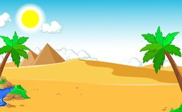 Beautiful view of tree cartoon with desert landscape background Royalty Free Stock Photos