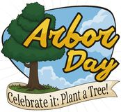 Beautiful View with a Tree and Ribbon for Arbor Day, Vector Illustration. Beautiful sky view with a tall tree and a ribbon promoting tree plantation during Arbor stock illustration