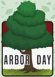 Beautiful View with a Tree and Ribbon for Arbor Day, Vector Illustration. Loose-leaf calendar reminding at you Arbor Day celebration with a healthy tree and stock illustration