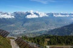 Beautiful view of trekking trial in Nendaz, Switzerland Royalty Free Stock Image