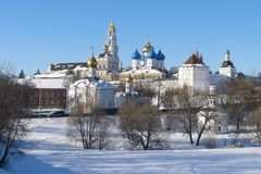 Beautiful view of Trinity Sergius Lavra in winter sunny day, amazing beauty of the architectural ensemble of ancient Russian monas Royalty Free Stock Images