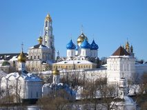 Beautiful view of Trinity Sergius Lavra in winter sunny day, amazing beauty of the architectural ensemble of ancient Russian monas Stock Photography