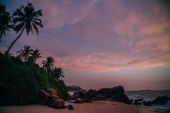 Sri Lanka beach at sunset. Beautiful view of a tropical beach at sunset Royalty Free Stock Image