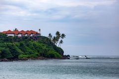 Beautiful view of tropical coast in Mirissa, Sri Lanka stock images