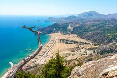 Beautiful view on Tsampika Beach on Rhodes island in Greece. View on famous sandy beach Tsampika on greek island Rhodes stock photo