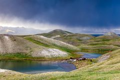 View of Tulpar Kul lake in Kyrgyzstan during the storm Royalty Free Stock Images