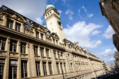 Beautiful view of university Sorbonne in Paris. France on a sunny day Royalty Free Stock Images