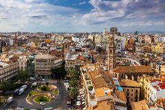 Beautiful view of Valencia from the tower Torre del Miguelete Stock Photography