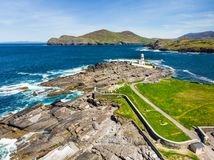 Beautiful view of Valentia Island Lighthouse at Cromwell Point. Locations worth visiting on the Wild Atlantic Way. stock photos