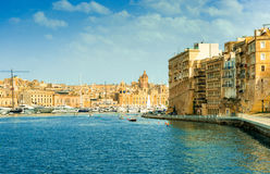 Beautiful view of Valletta harbour with yachts and boats Royalty Free Stock Images
