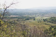 Beautiful view of the valley of Provence. From the top of the hill stock photography