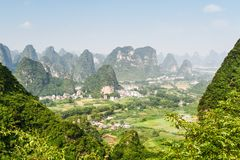 Beautiful view of valley among scenic karst mountains, Yangshuo royalty free stock photography