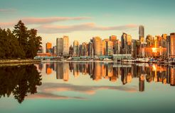 Vancouver skyline with Stanley Park at sunset, British Columbia, Canada stock images