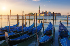 Beautiful view of Venice with gondolas at sunrise Royalty Free Stock Images