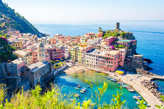 Beautiful view of Vernazza from above. One of five famous colorful villages of Cinque Terre National Park in Italy Royalty Free Stock Photos