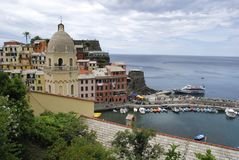 Beautiful view of Vernazza .Is one of five famous colorful villages of Cinque Terre National Park in Italy, suspended royalty free stock images