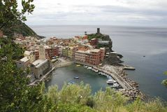 Beautiful view of Vernazza .Is one of five famous colorful villages of Cinque Terre National Park in Italy, suspended stock images