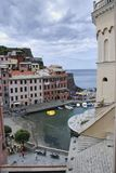 Beautiful view of Vernazza .Is one of five famous colorful villages of Cinque Terre National Park in Italy, suspended stock photos