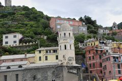 Beautiful view of Vernazza .Is one of five famous colorful villages of Cinque Terre National Park in Italy, suspended royalty free stock photo