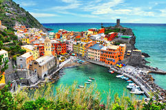 Beautiful view of Vernazza . Is one of five famous colorful villages of Cinque Terre National Park in Italy. Suspended between sea and land on sheer cliffs stock photos